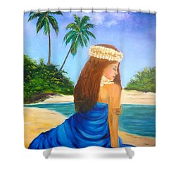 Shower Curtain featuring the painting Hula Girl On The Beach by Jenny Lee