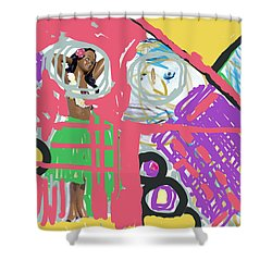 Hula Girl Under Paint Shower Curtain by Susan Stone