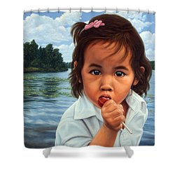 Shower Curtain featuring the painting Human-nature 48 by James W Johnson