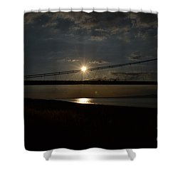 Humber Bridge Sunset Shower Curtain