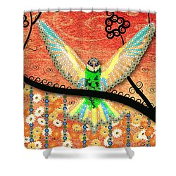 Shower Curtain featuring the digital art Hummer Love by Kim Prowse