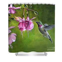 Shower Curtain featuring the painting Hummingbird And Fuschia by Debbie Hart