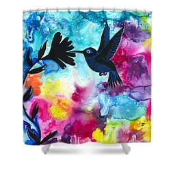 Hummingbird Shower Curtain by Cat Athena Louise