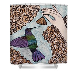 Shower Curtain featuring the painting Hummingbird Golden Flower by Jasna Gopic