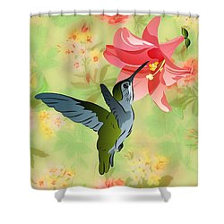 Hummingbird With Pink Lily Against Floral Fabric Shower Curtain by MM Anderson