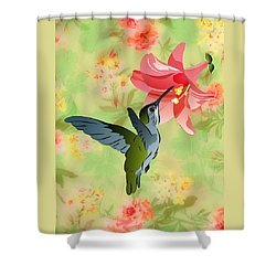 Shower Curtain featuring the digital art Hummingbird With Pink Lily Against Floral Fabric by MM Anderson