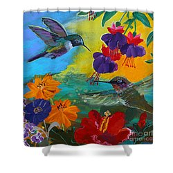 Hummingbirds Prayer Warriors Shower Curtain by Robin Maria Pedrero