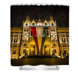 Hungarian Parliament At Night Shower Curtain