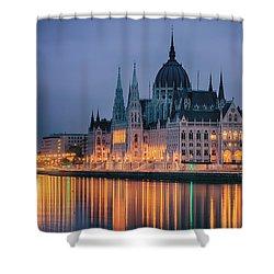 Hungarian Parliament Dawn Shower Curtain by Joan Carroll