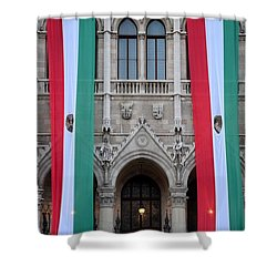 Hungary Flag Hanging At Parliament Budapest Shower Curtain by Imran Ahmed