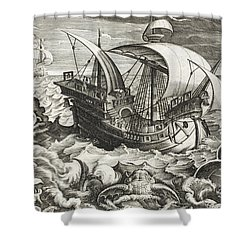 Hunting Sea Creatures Shower Curtain by Jan Van Der Straet