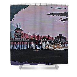 Huntington Beach Pier 1 Shower Curtain