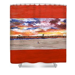 Huntington Beach Pier 3 Shower Curtain