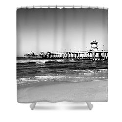 Huntington Beach Pier Black And White Picture Shower Curtain by Paul Velgos