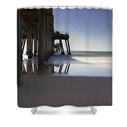 Huntington Beach Pier - Looking Out Shower Curtain by Heidi Smith