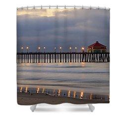 Huntington Beach Pier Morning Lights Shower Curtain by Duncan Selby