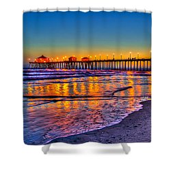 Huntington Beach Pier Sundown Shower Curtain