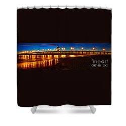 Huntington Beach Pier Twilight Panoramic Shower Curtain