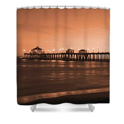 Huntington Beach Pier - Twilight Sepia Shower Curtain