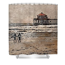 Huntington Beach Surfers Shower Curtain by Andrea Auletta