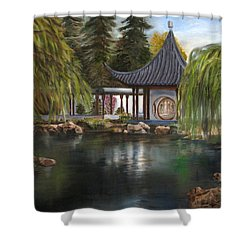Shower Curtain featuring the painting Huntington Chinese Gardens by LaVonne Hand