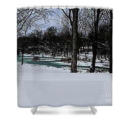 Huron River In Monroeville Shower Curtain