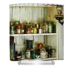 Hurricane Lamp In Pantry Shower Curtain by Susan Savad