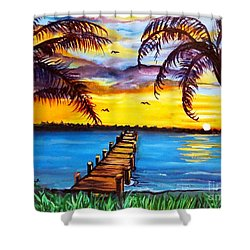 Hurry Sundown Shower Curtain by Ecinja Art Works