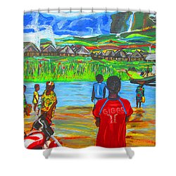 Shower Curtain featuring the painting Hurry Up There - Ryan Giggs Tribute by Mudiama Kammoh