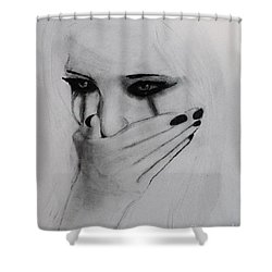 Shower Curtain featuring the drawing Hurt by Michael Cross