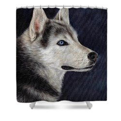 Husky Portrait Painting Shower Curtain by Rachel Stribbling