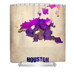 Huston Watercolor Map Shower Curtain by Naxart Studio