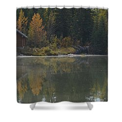 Hut By The Lake Shower Curtain