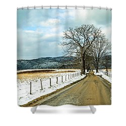 Hyatt Lane In Snow Shower Curtain by Debbie Green