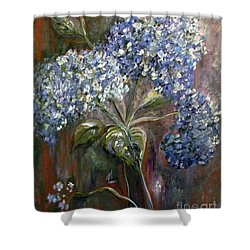 Shower Curtain featuring the painting Hydrangea Bouquet At Dawn by Eloise Schneider