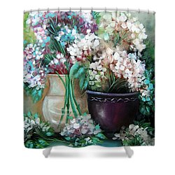 Shower Curtain featuring the painting Hydrangea Melody by Patrice Torrillo