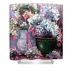 Shower Curtain featuring the painting Hydrangeas Still Life Pink by Patrice Torrillo