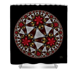 Shower Curtain featuring the digital art Hyper Jewel I - Hyperbolic Disk by Manny Lorenzo