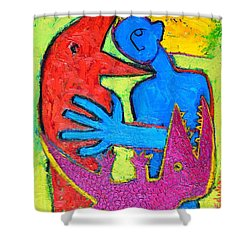 I Am Blue But Still Alive Do Not Eat Me Shower Curtain by Ana Maria Edulescu