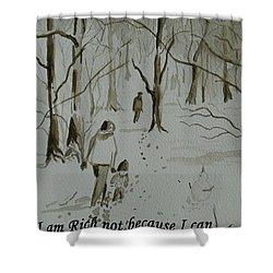 I Am Rich - Monochrome-snow Scene Shower Curtain