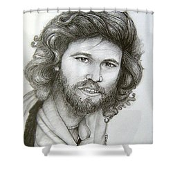 Shower Curtain featuring the drawing Barry Gibb by Patrice Torrillo
