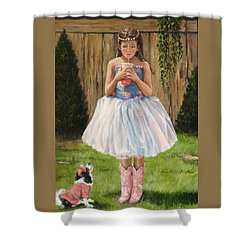 Shower Curtain featuring the painting I Dressed Myself by Donna Tucker