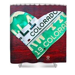 I Heart Colorado License Plate Art Shower Curtain