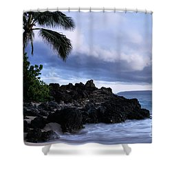 I Ke Kai Hawanawana Eia Kuu Lei Aloha - Paako Beach Maui Hawaii Shower Curtain by Sharon Mau