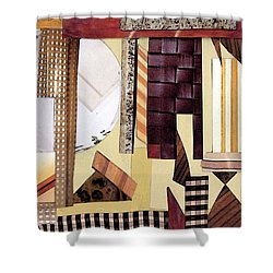 Shower Curtain featuring the mixed media I Like Brown by Mary Bedy