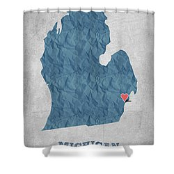 I Love Detroit Michigan - Blue Shower Curtain by Aged Pixel