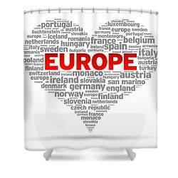 I Love Europe Shower Curtain by Aged Pixel
