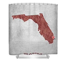 I Love Miami Florida - Red Shower Curtain by Aged Pixel