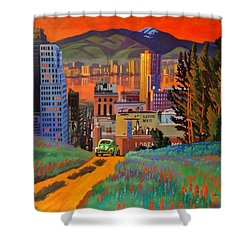 Shower Curtain featuring the painting I Love New York City Jazz by Art James West