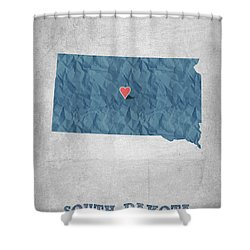 I Love Pierre South Dakota - Blue Shower Curtain by Aged Pixel